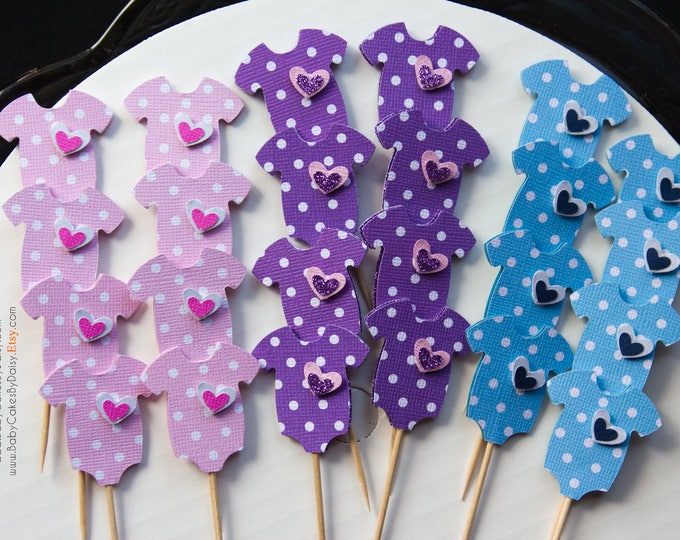 Featured listing image: 24 Baby Shower Cupcake Toppers - Pink Lavender Blue Polka Dot Cupcake Toppers - Cupcake Toppers - Baby Onesie