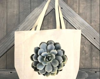 LINEN CANVAS TOTE- Large Succulent bag, Farmer's market, reusable bag, grocery tote,  travel bag, ready to ship, Mother's Day Gift