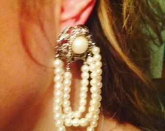 Vintage pearl baroque earrings