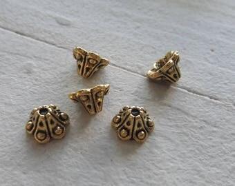 set of 10 bead caps, caps, antiqued gold tone, DESTASH