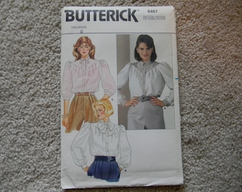 BUTTERICK BLOUSE PATTERN 6467 Vintage Size 8 in 3 Loose Fitting Styles with Front and Back Pleated into a Shaped Yoke