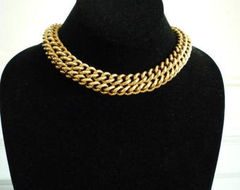 Great Vintage Berge Yellow Gold Filled Heavy Chunky Link Chain Choker Necklace