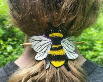 Bee Leather Ponytail Holder