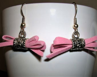 Pink Suede Bow Earrings