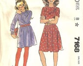 McCalls 7168 Girls Vintage Pullover Knit Dress Sewing Pattern Size 8