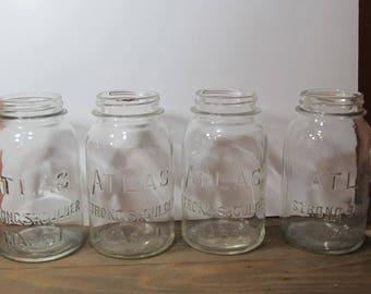 Rustic canning quart size jars; 4 Atlas Jars; Strong Shoulder Mason Jars