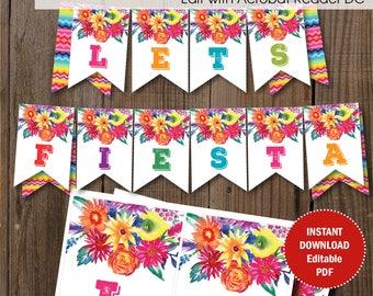 Editable Fiesta Party Banner / Fiesta Birthday banner / Editable PDF template.