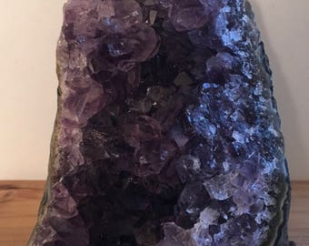 Premium Amethyst Quartz Crystal Cluster, cut base for standing,gorgeous!