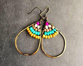 Boho earrings beaded earrings colorful earrings antique brass earrings gpysy earrings boho jewelry ethnic earrings