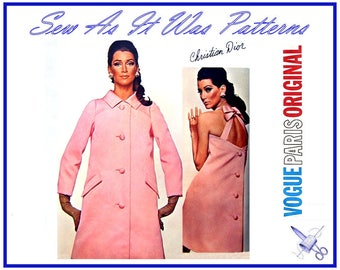 "1960s Vogue Paris Original 1668 Christian Dior Back Bow A-Line Evening Dress & Coat Two Lengths Vintage Sewing Pattern Size 14 Bust 34"" 87cm"