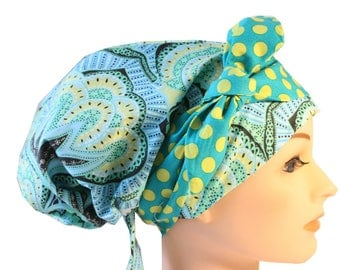 Scrub Hat Cap Chemo Bad Hair Day Hat  European BOHO Banded Pixie Tie Back Blue Teal Yellow Green Dot Tie Band 2nd Item Ships FREE