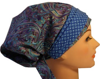 Scrub Hat Cap Chemo Bad Hair Day Hat  European BOHO Banded Pixie Tie Back Purple Paisley Soft Blue Band  2nd Item Ships FREE