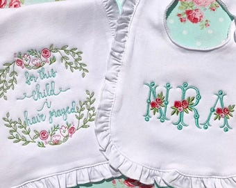 Monogrammed Ruffle Bib and Burp Cloth | For this child I have prayed | Baby Shower | Embroidered Baby Gift