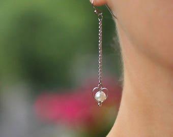 Dangle Chain Earrings Delicate Erarrings Long Dangle Earrings Silver Heart Earrings Heart Earrings Minimalist Earrings Chain Earrings Heart