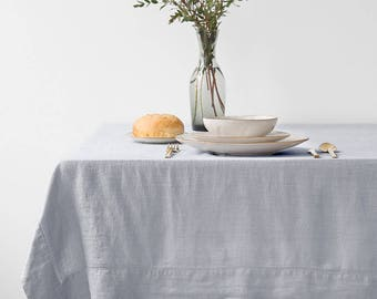 SALE! Light Grey Vintage Tablecloth with Hemstitch