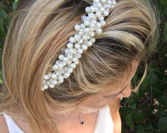 wedding tiara, pearl hair wine, bridal headband, country bride, hippie flowergirl, gift for her