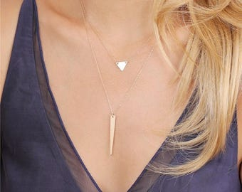 ON SALE Dainty gold triangle necklace / Minimal gold geometric necklace / 14K Gold fill triangle necklace - Layering Necklace