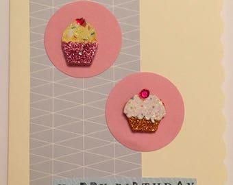 Handmade birthday card blue cupcake A6