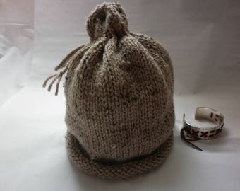 Adult Hat knit 100% hand-made in France Hat long cord Brown mottled design