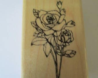 "Rubber Stamp  "" Roses""  used good condition"