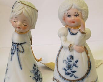 Vintage  ser  of  porcelain Royal Magestic figurine bells used