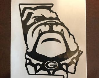 Ga Bulldog/State Outline Vinyl Decal