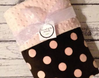 Pink brown blanket etsy clearance baby girls pink and brown jumbo dot stroller blanket minky blanket personalized negle Images