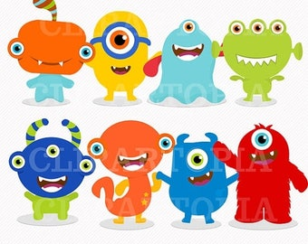 50% OFF SALE Cute little Monster 2 Digital Clipart / Monsters Party  for Personal and Commercial Use/ INSTANT Download