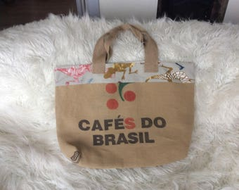 Large tote bag from recycled coffee bean sack