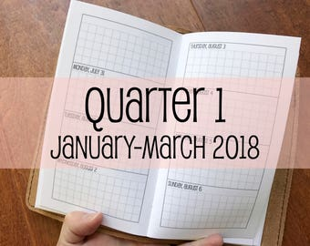Traveler's Notebook PERSONAL Size Week on Two Pages Grid Horizontal {Q1 | January-March 2018} #700-16