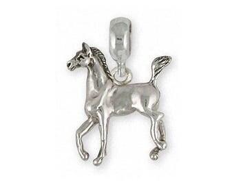 Horse Charm Slide Jewelry Sterling Silver Handmade Horse Charm Slide EQU6-PNS