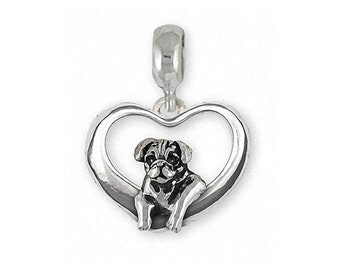 Pug Charm Slide Jewelry Sterling Silver Handmade Dog Charm Slide PG46-TPNS