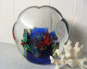 Paperweight, Beautiful Blown Glass Murano Paperweight, Butterflies, Cobalt