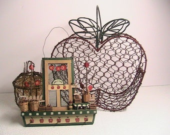 Apples, Chicken Wire Apple Basket, Small Round Apple, Wall Apple Decor