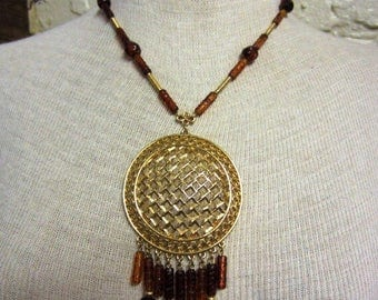 60s Tortoise Shell Beads and Gold Statement Necklace Dreamcatcher Tribal Large Pendant Medallion Hippie Boho Necklace Festival Amber Beads