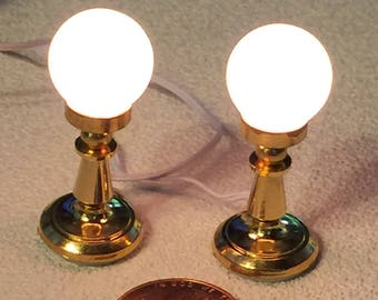 Set of Two Electric One Inch Scale Bar Lamps for a Dollhouse