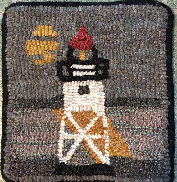 "Rug Hooking Pattern, GM Lighthouse Mat, 8"" x 8""  P148"