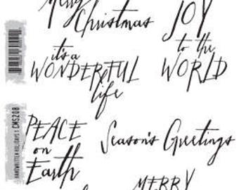 Tim Holtz HANDWRITTEN HOLIDAYS 1 Cling Stamp set STAMPERS_ANONYMOUS CMS208 - cc11  RS066