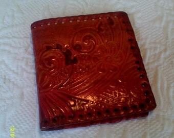 Vintage Tooled Leather Fold Over Wallet, Western Wallet, Hand Made Wallet
