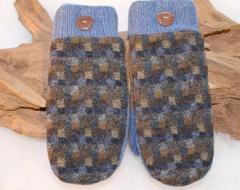 Wool sweater mittens lined with fleece with Lake Superior rock buttons in blue and brown, Christmas, hostess gift, coworker gift, birthday