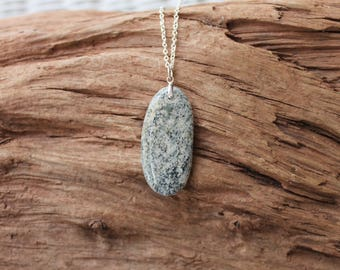 Lake Superior beach stone and sterling silver pendant, beach stone necklace, rock jewelry, Mother's Day gift, birthday, anniversary