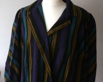 Vintage striped gown, retro Dress, Wool dress