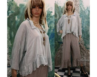 Ilike Blouse - Romantic Water-Blue Linen Gauze Blouse with Pintuckes and Frills Lagenlook Plus Size Clothing