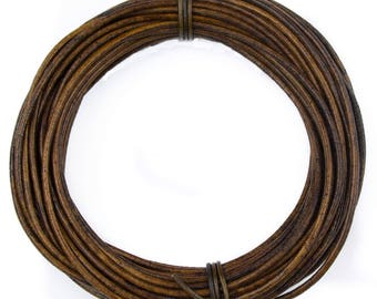 Brown Antique Natural Dye Round Leather Cord 2mm 50 meters (54 yards)