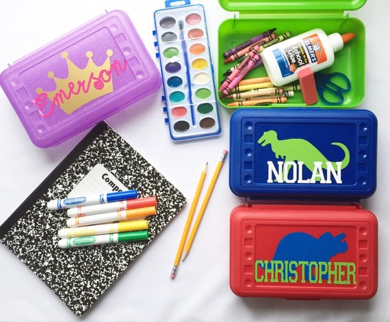 Personalized Pencil Box Crayon Box Back to school supplies Monogram Pencil Box Monogram Office supply