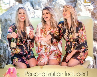 Set of 6 Bridesmaid robes, Personalized Robe , Mix & Match, Floral robe silk, Kimono Silky Robe Bridesmaid gift Getting ready photo