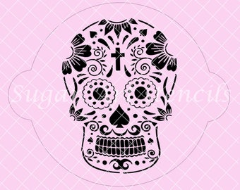 Floral Sugar skull stencil Day Of The Dead SL20225