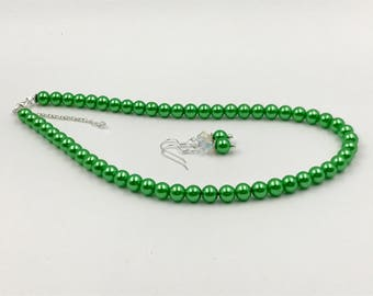 Free Shipping,Green Pearl Set,sterling silver necklace,sorority like colors,green glass pearls,Made in USA,AKA like colors,ladies pearls