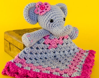 Macy the Elephant Lovey/Security blanket (crocheted)
