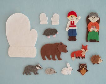 The Mitten Felt/Flannel Board Story/Felt Animals/Winter Theme/Teacher Resource/Literacy Activity/Preschool Theme